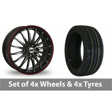 """4 x 15"""" Team Dynamics Jet RS Black Red Alloy Wheel Rims and Tyres -  195/65/15"""
