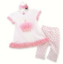 NWT Mud Pie Baby Party Time Cupcake Tunic and Capri Leggings 12-18m, 2T/3T
