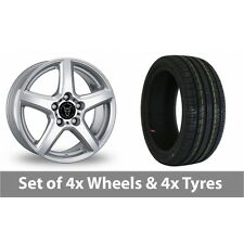 """4 x 16"""" Wolfrace Silver Alloy Wheel Rims and Tyres -  215/55/16"""
