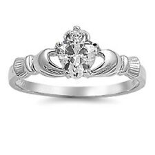 Irish Claddagh Ring 925 Sterling Silver Clear Russian CZ Heart Promise Ring