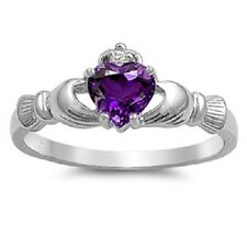 Irish Claddagh Ring 925 Sterling Silver Purple Amethyst CZ Heart Promise Ring