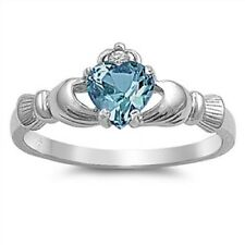 Irish Claddagh Ring 925 Sterling Silver Blue Zircon CZ Heart Promise Ring