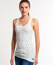 New Womens Superdry Vintage Lace Printed Vest Top Winter White Ditsy