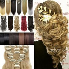Long Real Thick 8Pcs 18Clips Clip in on Full Head Hair Extensions As Human tps