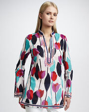 TORY BURCH Tulip Print Tunic BALLET PINK TULIP size 8 NWT Top Shirt Floral