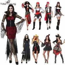 Fashion Men Women Adult Pirate Costume Swashbuckler Halloween Fancy Dress Ouffit