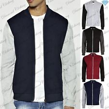 Mens Contrast Sleeve Casual Bomber Jacket Fleece Baseball Sweatshirt Zip Pocket
