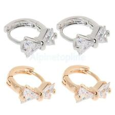 Women Jewelry Alloy Cubic Sweet Bowknot Shape Rhinestone Ear Lobe Stud Earrings