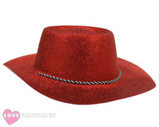 RED GLITTER COWBOY HAT WILD WESTERN COWGIRL HEN STAG PARTY HOLIDAY FANCY DRESS