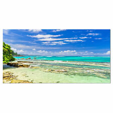 Tranquil Seychelles Tropical Beach Photographic Print on Wrapped Canvas