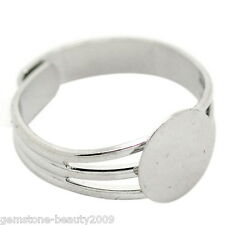 Wholesale HX Silver Tone Copper Adjustable Ring Blank Pad Base 18.3mm US 8