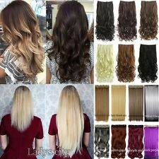 One Piece Full Head Clip in Thick Remy Hair Extensions Wavy Straight As Human TG