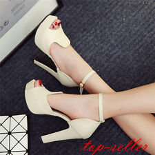 Women's Ankle Strap Sexy Block High Heels Cut Out Pumps Sandals Ladies Shoes Sz