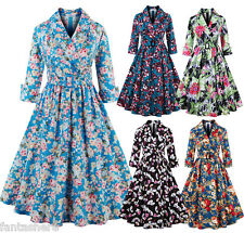 Plus Size Swing Pinup Womens Ladies 1950s Vintage Retro Rockabilly Party Dress