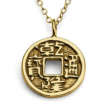 Feng Shui Coin Pendant Necklace #14k Gold Plated Sterling Silver #Azaggi N0046G