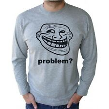 TROLL FACE PROBLEM? MEME INTERNET KULT FUN LOGO GREY LONG SLEEVE T-SHIRT S-2XL