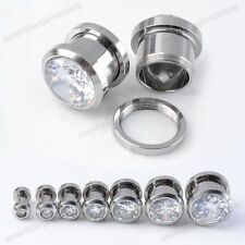 Pair Stainless Steel Clear CZ Gemstone Screw Ear Plugs Tunnel Expander Stretcher