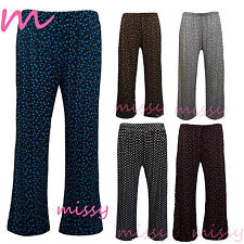 New Ladies Plus Size Palazzo Trousers Womens Baggy Flared Wide Leg Pants 12-30