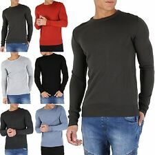 Mens Crew Neck Long Sleeve Ribbed Cuff Knitted Winter Sweater Pullover Jumper