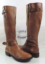 Women's Shoes Steve Madden ALYY Tall Riding Boots Leather Cognac