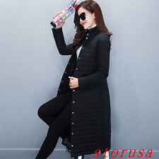 Women Lady Light Long Stand Collar Cotton Paded Coat Winter Warm Ourwear Size