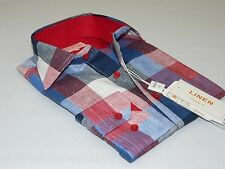 Men's INSERCH 100% Linen Plaid Square Print Summer Cool Long Sleeves 2407 Red