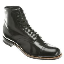 Stacy Adams Ankle Boot Biscuit Madison Black  Wide Cap Toe Lace Up  00015-01 E