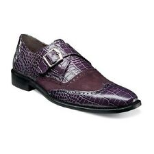 Stacy Adams Mens shoes Arrico Purple Crocodile print leather Suede 25003-542