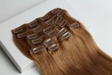 8pcs 130g 150g100%Real Human Hair Extension Clip In Hair Golden Brown Full Head