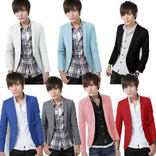 Korean Men's Stylish Slim Fit Casual Solid Color One Button Blazer Boys Coat