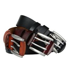 Fashion Men's Genuine Leather Belt Casual Pattern Waistband Double Pin Buckle