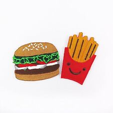 2 Pcs. Embroidered Iron On Patch French Fries Hamburger Food Fabric Sew Craft