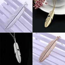 Creative Feather Pendant Long Chain Necklace Sweater Statement Vintage Jewelry