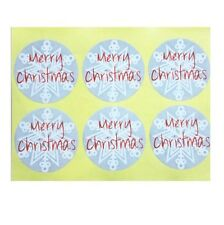 Round Labels 'MERRY CHRISTMAS' Snowflake Gift Seal Christmas Present Stickers