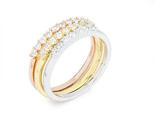 18K TRI-COLOR VERMEIL--Dainty Pave 5A Cubic Zirconia 3 Band Eternity Ring-925