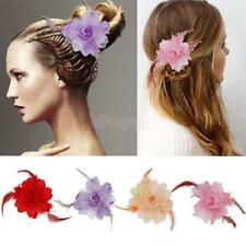 Wedding Prom Dance Costume Bridal Feather Flower Hair Clip Pins Hair Accessory