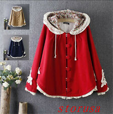 New Fashion Women Girls Cape Woolen Coat Hooded Hollow Flora Loose Coat Sweet