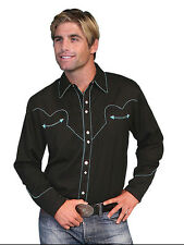 Men's New Scully Snap Western Cowboy Rodeo Shirt Black Turquoise