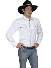 Men's New Scully Snap Western Cowboy Rodeo Shirt White