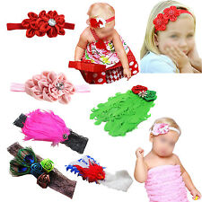 Q4830 Unusal Girls Baby Feather Hairband with Cute Rose Headband 8 Colors