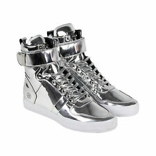 Radii Vertex Mens Silver Leather High Top Lace Up Sneakers Shoes