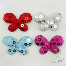 10/50 pcs Mixed Red/Pink/Silver/Blue Padded Felt Butterfly Sequin Appliques DIY