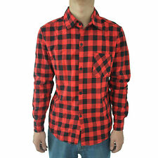 902Q4  Mens Vintage Plaid Long Sleeve Shirt Slim Fit Shirts XL red