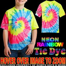 Youth Tie Dye Neon Rainbow T-Shirt Tye Died XS, S, M, L XL Boys Girls Kids Child