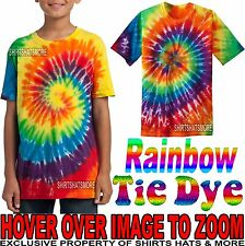 Youth Tie Dye Rainbow T-Shirt Tye Died XS, S, M, L, XL Boys Girls Kids Child