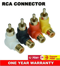 4x New RCA Right Angle Cable Connector Plug Adapters Male To Female 90° Elbow AU