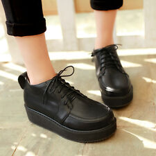 New Womens Girls Punk Goth Vintage Boots Platform Creepers Pumps Shoes Plus Size