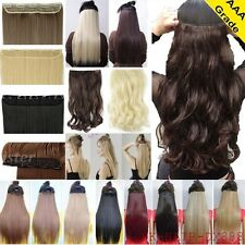UK Clip in Hair Remy Extension Piece 5Clips Straight Wavy Real As Human Hair ltd