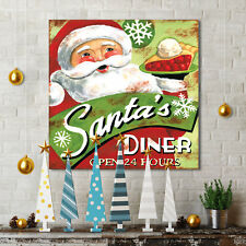 """""""Santa's Diner"""" by Jennifer Brinley Texual Art on Wrapped Canvas"""