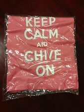 "NEW Authentic Women's ""Keep Calm and Chive On"" Pink T-Shirt S M L KCCO Large"
